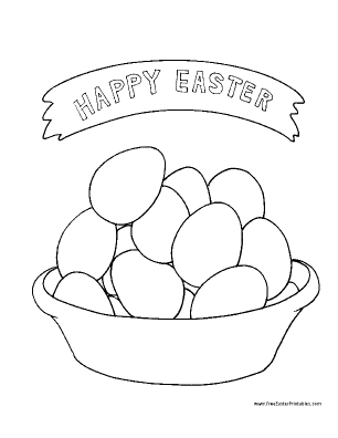Printable Easter Coloring on Printable Bowl Of Eggs Easter Coloring Page