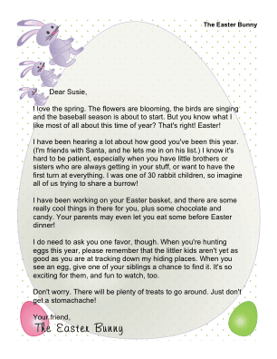 Printable Letter from The Easter Bunny to Child With Siblings