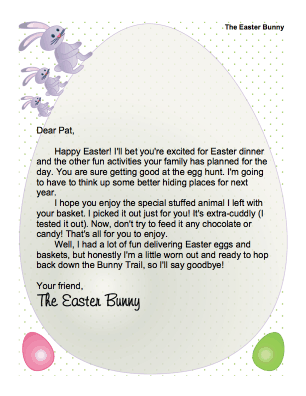 Canny image with letter from the easter bunny printable