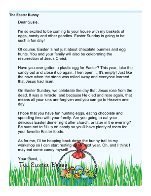 Printable religious letter from the easter bunny