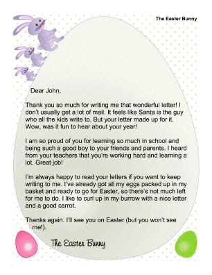 Printable Easter Bunny Letter to Child Who Wrote a Letter